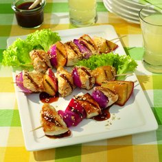 Barbecued Chicken and Apple Kebabs