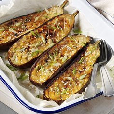 Miso and Honey Roast Aubergine