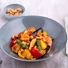 Wok-cooked Vegetables & Nuts with Seafood
