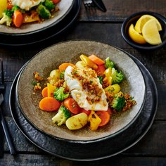 Poached cod with panko butter sauce