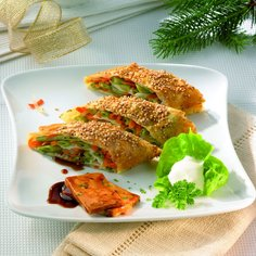 Vegetable Strudel with Fried Tofu