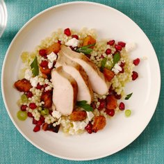 Marinated Chicken breast, warm pearl couscous and butternut salad, feta, herbs and pomegranate
