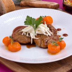 Fillet of Pork with Garlic & Mayonnaise Leek and Orange & Carrot Soy Sauce