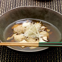 Japanese soup with chicken and tofu dumplings