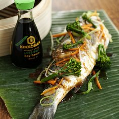 Sea bass with lemon grass, lime and ginger