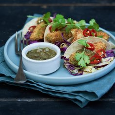 Tacos with Deep-Fried Avocado and Poke Red Cabbage