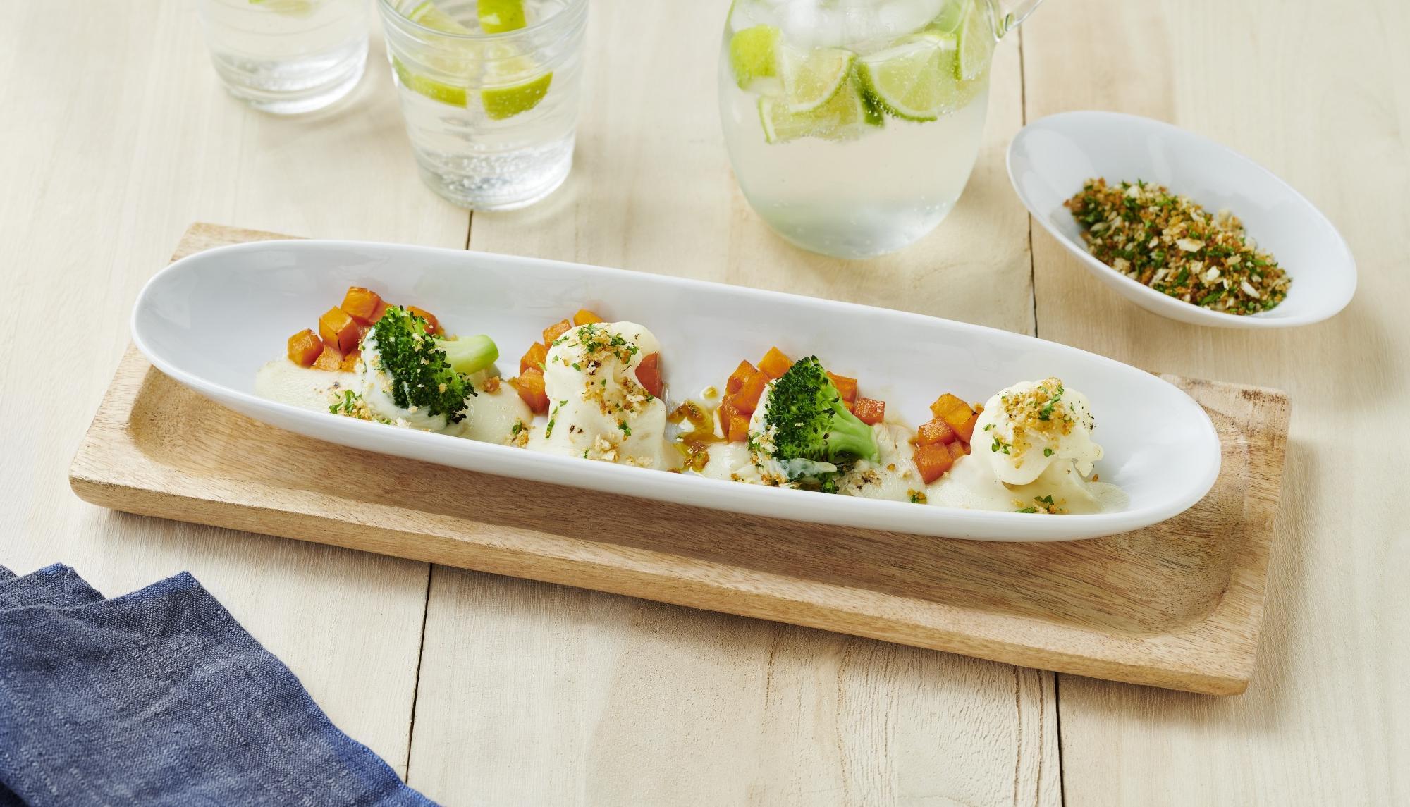 Broccoli Au Gratin Cauliflower And Glazed Sweet Pumpkin With Crispy Soy Sauce Crumbles Kikkoman Recipes