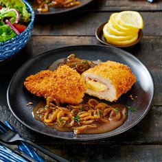 Stuffed chicken breast in panko crust with teriyaki honey onion sauce