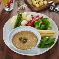 """Bagna cauda"" dip with tofu and soy sauce"