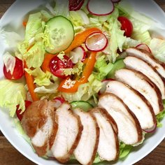 Teriyaki chicken with a colourful salad