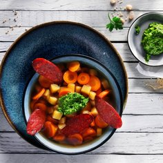 Carrot and Ginger Soup with Green Pesto and Roasted Chorizo