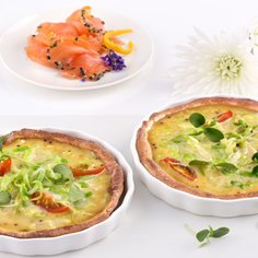 Spring Cabbage Tart with Soy Sauce & Mustard Topping and Marinated Orange Salmon