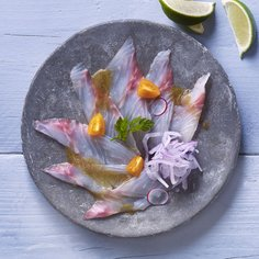 White fish carpaccio with Ponzu dressing
