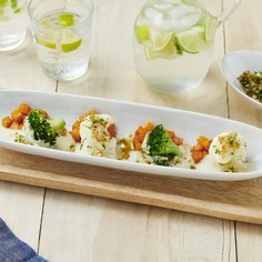 Broccoli au gratin, cauliflower and glazed sweet pumpkin with crispy soy sauce crumbles