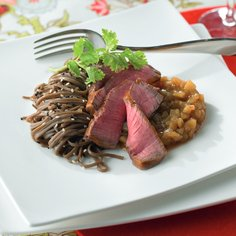 Beef fillet served with pear chutney and soba noodles