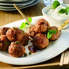 Teriyaki meatball duo with mint dip